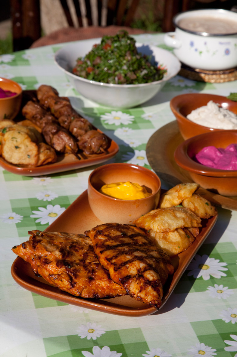 Grilled chicken breast, Meat brochettes, Al Falamanki`s tabbouleh, beetroot tahina.