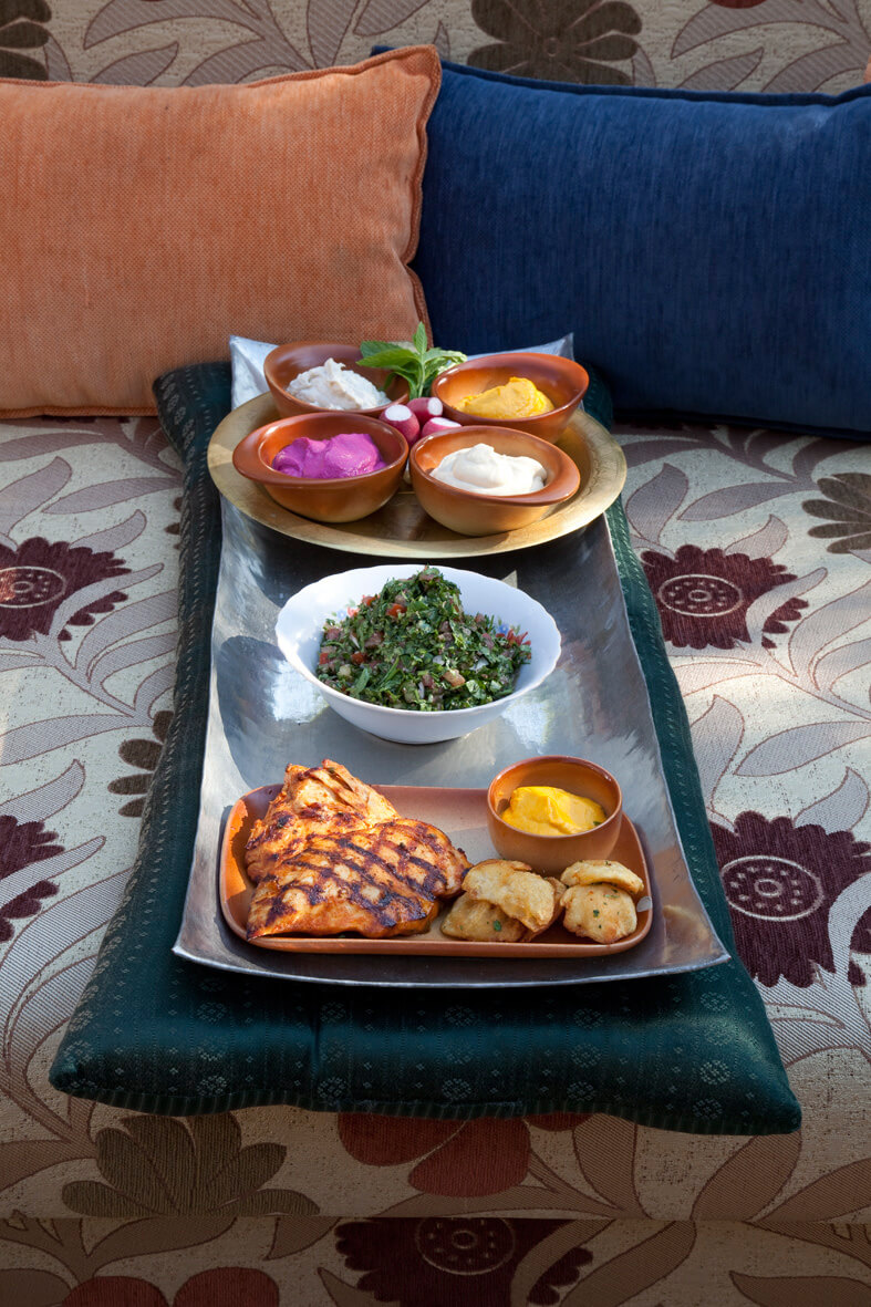 Grilled chicken breast, Al Falamanki`s tabbouleh, Mini Mezza.